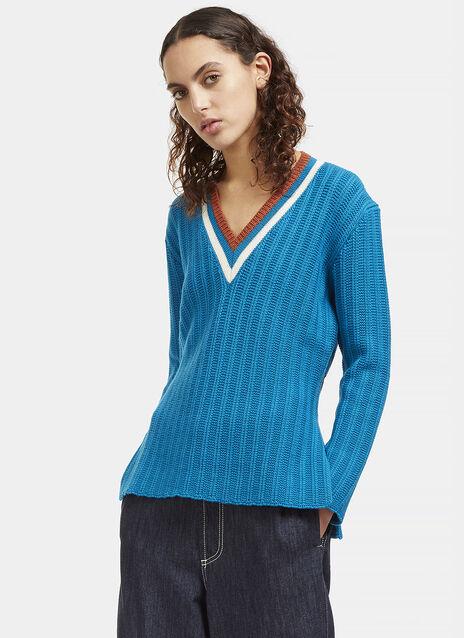 V-Neck Ribbed Knit Sweater