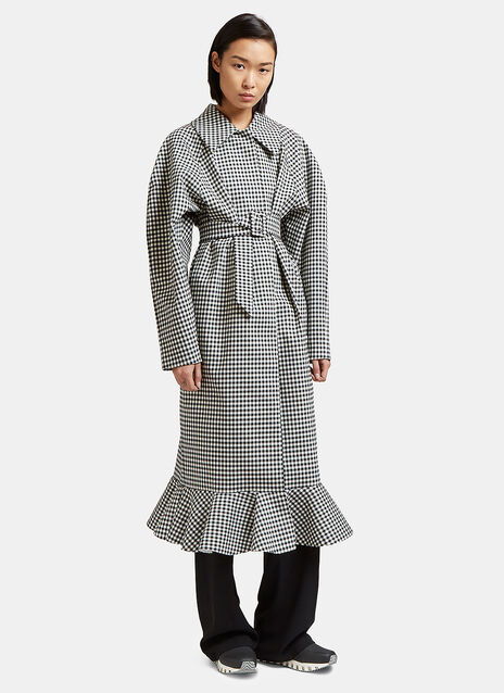 Jellychess Long Gingham Frilled Coat