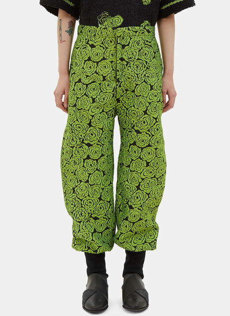 Cuffed Rose Print Pants