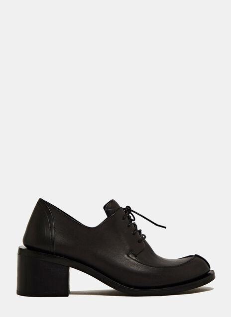 Fauvel 女裝帶皺摺Derby高跟皮鞋