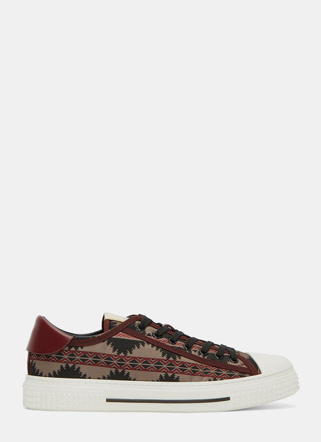 Printed Low-Top Stud Sneakers