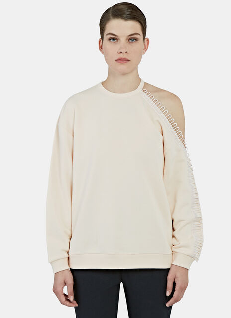 Loop Trimmed Cut-Out Sweater