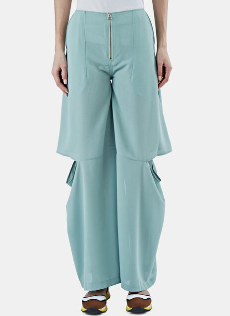 Wide Flared Slit Pants