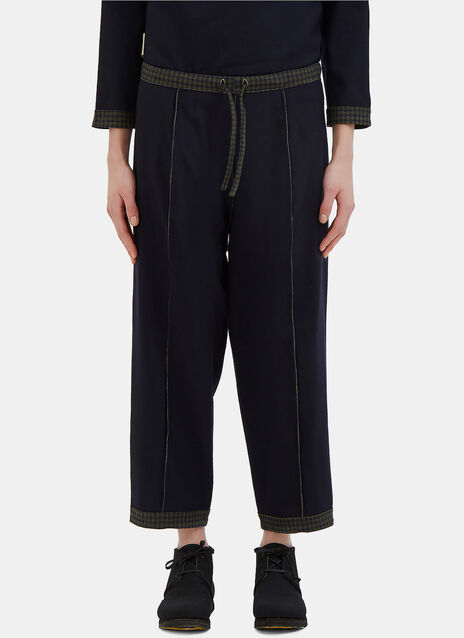 Tartan Trim Reversible Wool Pants