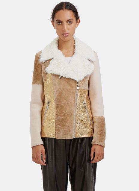 Patchwork Shearling Biker Jacket