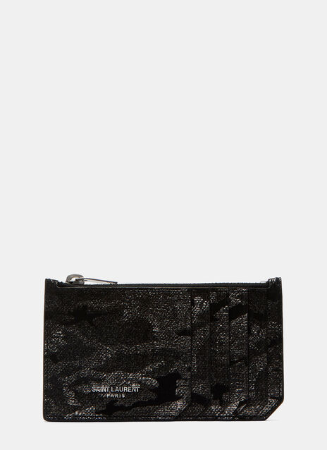 Metallic Camouflage Suede Card Holder Wallet
