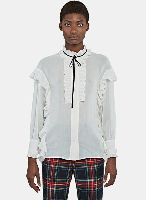 Ruffled Crêpe de Chine Shirt