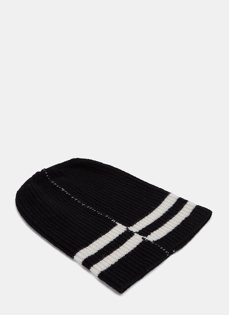 Striped Ribbed Knit Hat