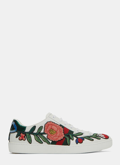 Floral Embroidered Low-Top Sneakers