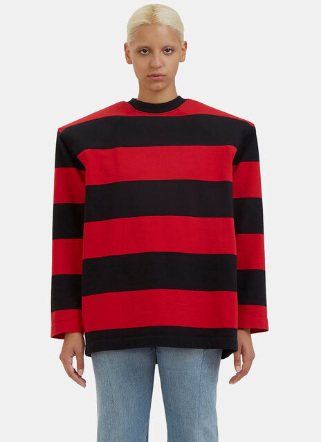 Football Shouldered Striped Sweater