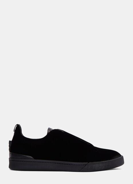 Low-Top Velvet Triple X Sneakers