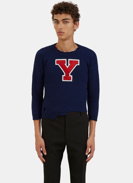 Destroyed Varsity Cropped Sweater