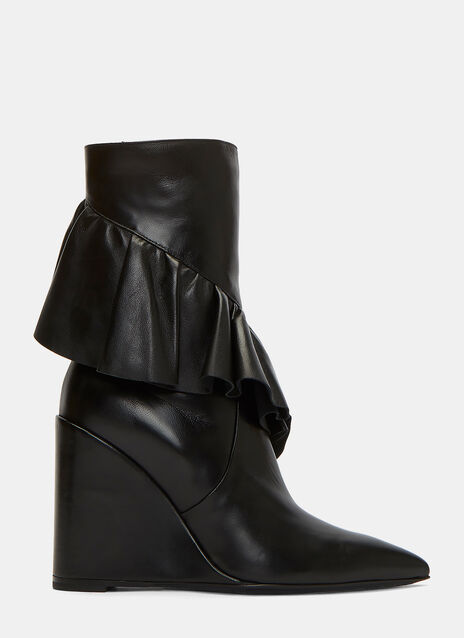Wedged Ruffle Mid-Calf Boots