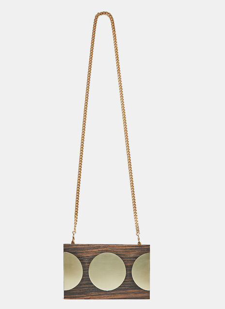 Gold Disc Wooden Clutch Bag
