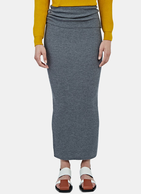 Long Ribbed Knit Tube Skirt