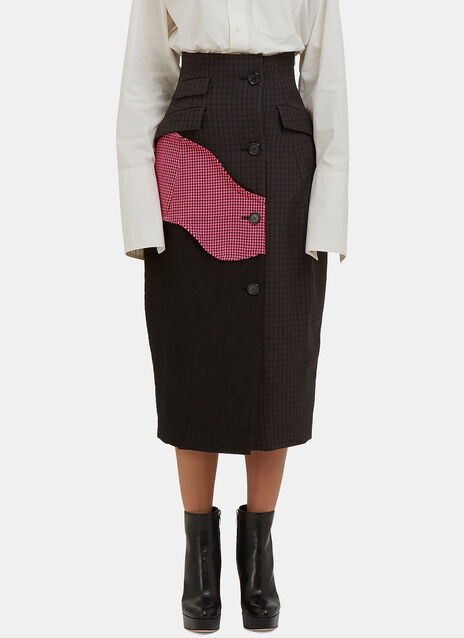Patchwork Checked Coat Skirt