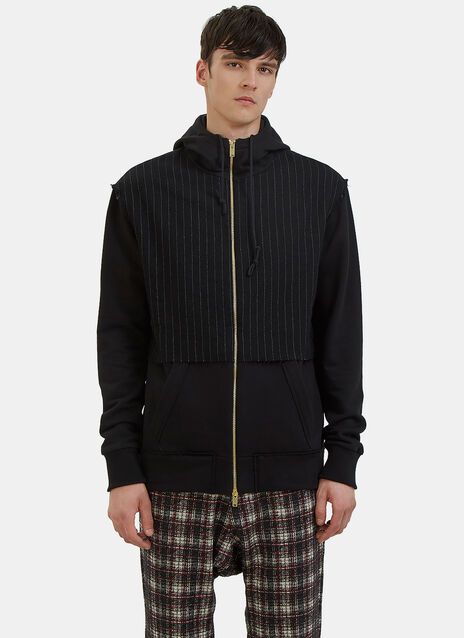 Pinstripe Panelled Zip-Up Hooded Sweater