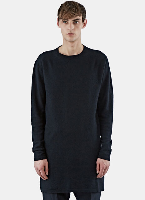 Long Cashmere Crew Neck Sweater