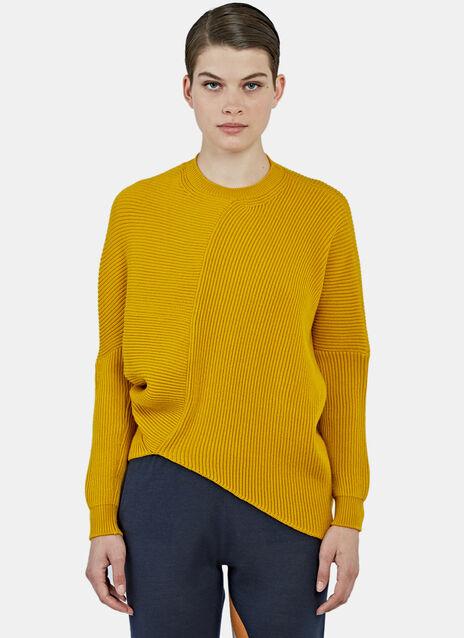 Oversized Asymmetric Ribbed Knit Sweater