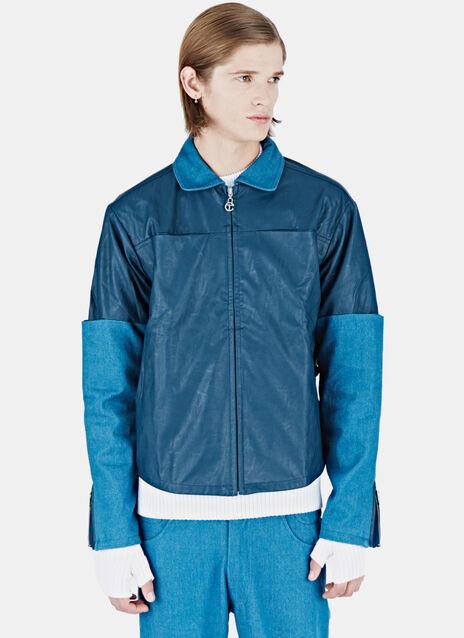 Leather Denim Sleeve Jacket