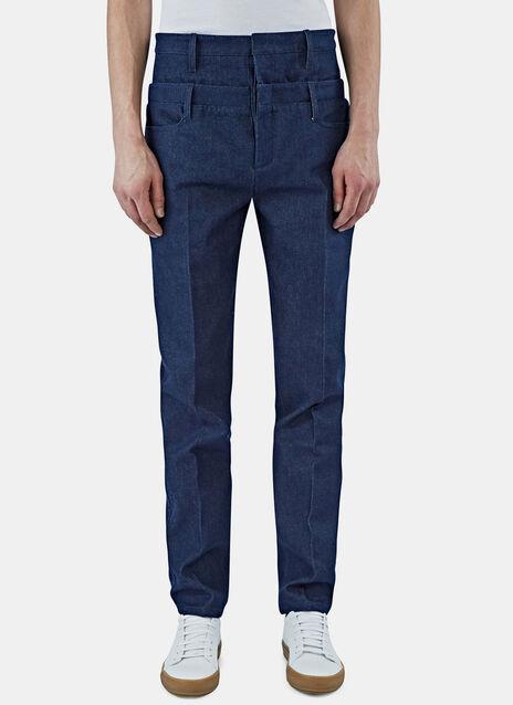 Double Waistband Denim Pants