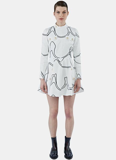 Mock Neck Printed Skater Dress