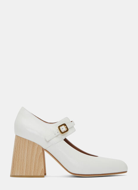 Wooden Heeled Mary Jane Pumps