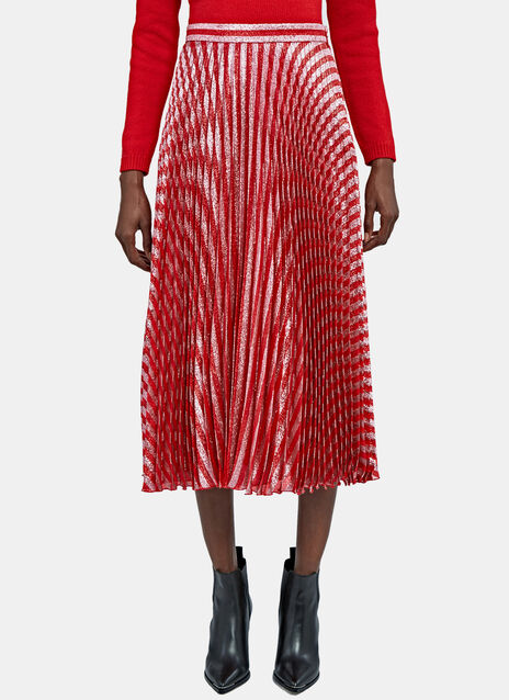 Mid-Length Pleated Lamé Skirt