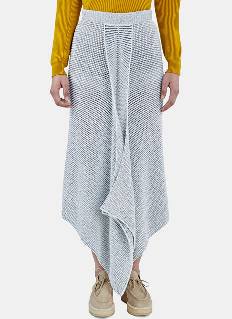 Asymmetric Bi-Colour Knit Skirt