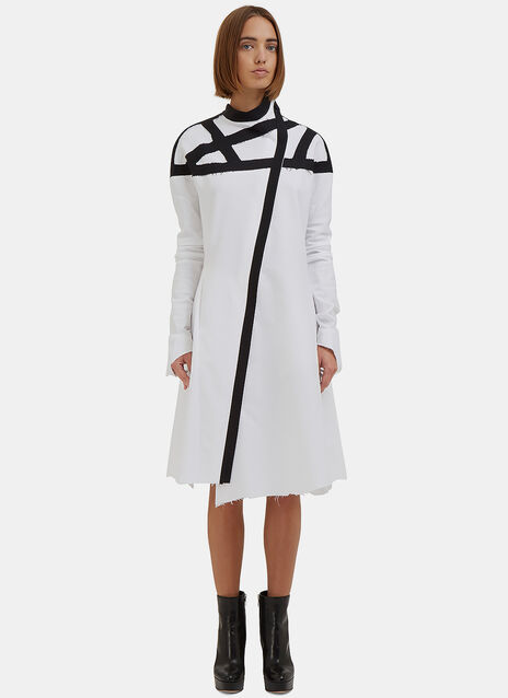 Webbed Raw-Edge Shirt Dress
