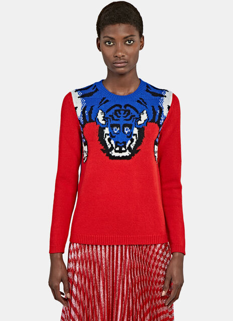Tiger Knit Crew Neck Sweater