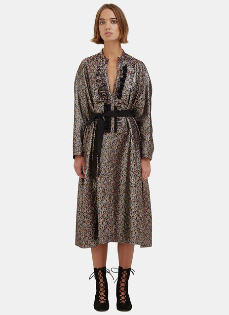 Oversized Metallic Floral Brocade Dress