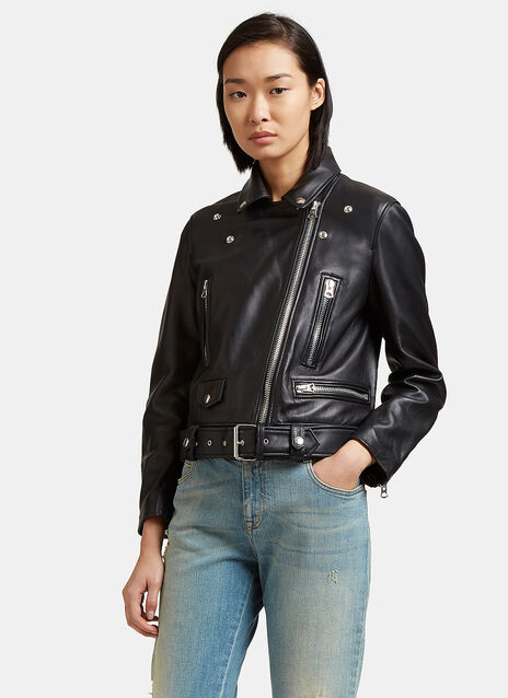 Mock Motorcycle Leather Jacket
