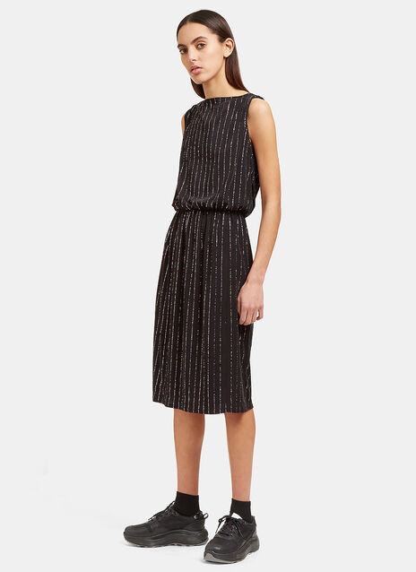 Mid-Length Glittered Pinstripe Dress