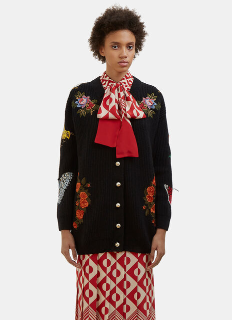 Floral Embroidered Ribbed Knit Cardigan