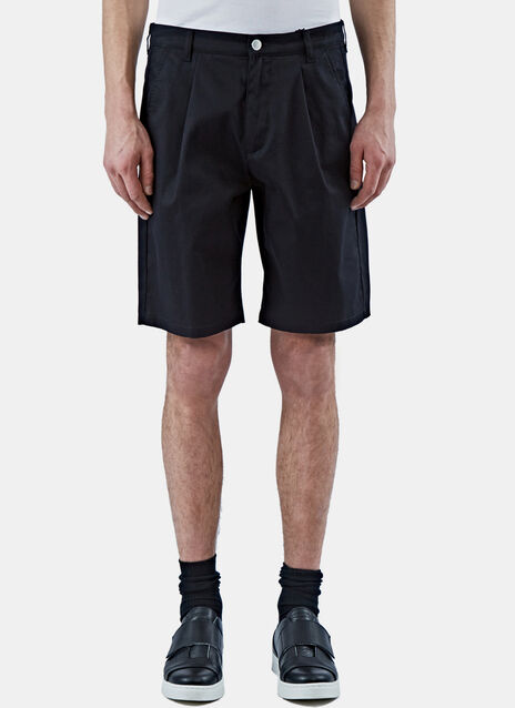 Front Pleat Cotton Bermuda Shorts