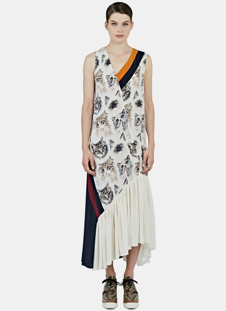 Long Silk Cat Print Dress