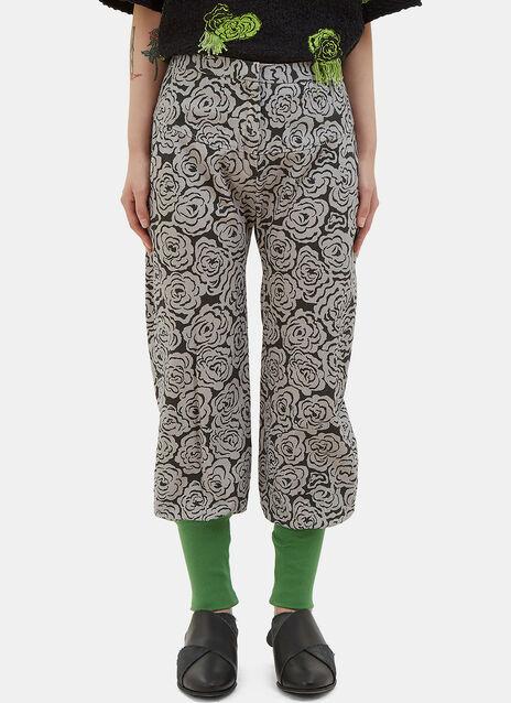 Rose Print Twill Pants
