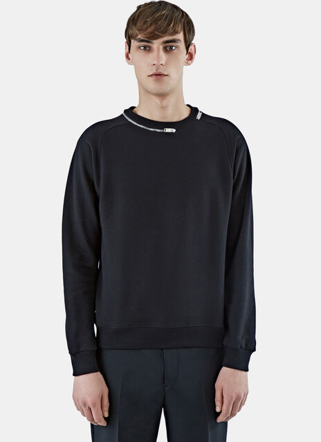 Zipped Crew Neck Sweater
