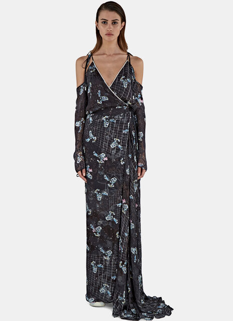 Ahrens Long Constellation Satin Devoré Dress