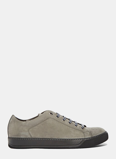 Calfskin Nubuck Leather Low-Top Sneakers