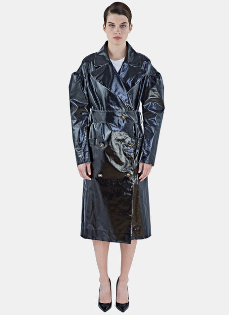 Raw-edged Vinyl Trench Coat
