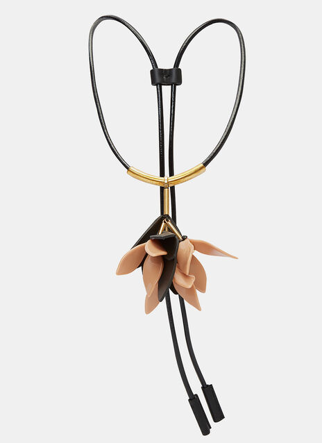 Leather Cord Flower Pendant Necklace