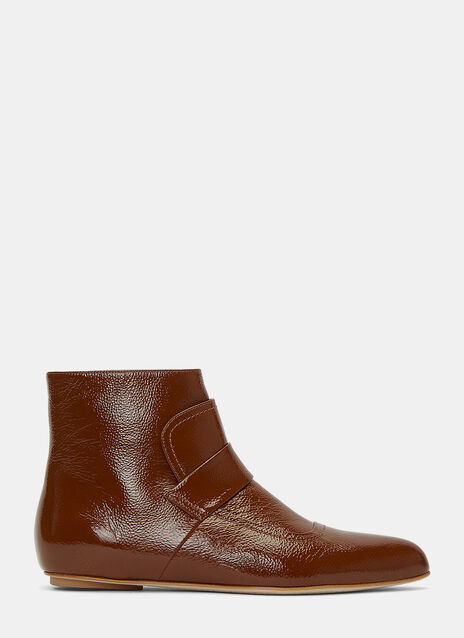 Patent Grained Ankle Boots