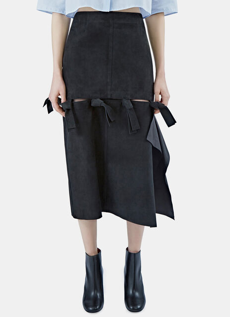 Hein Leather Knot Skirt