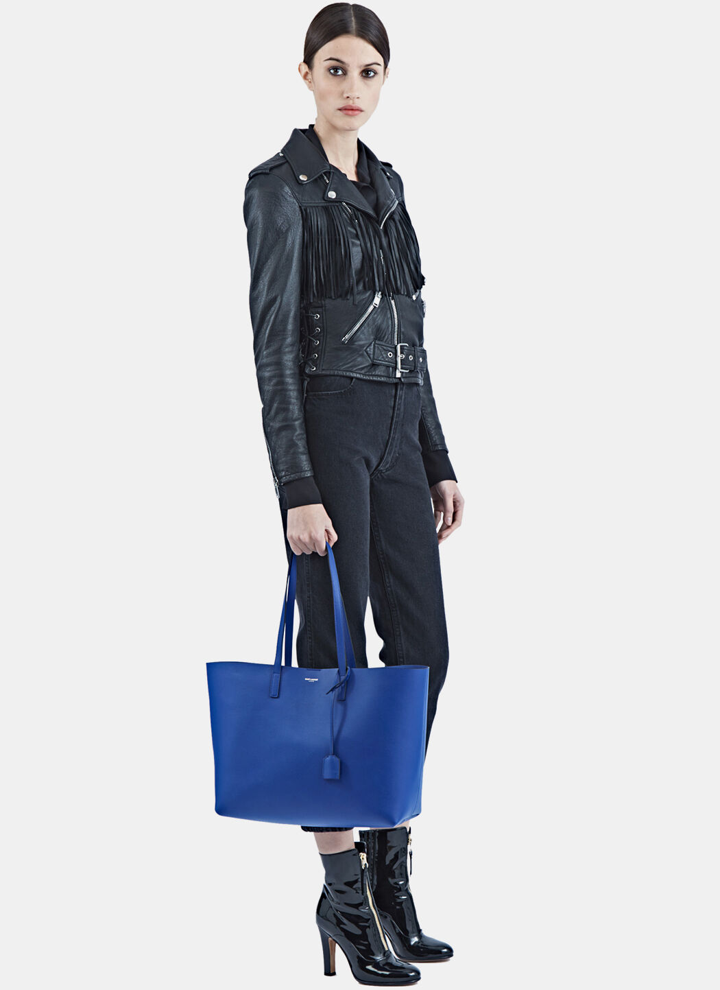 saint laurent shopping bag - monogram saint laurent crossbody phone pouch in ultramarine leather