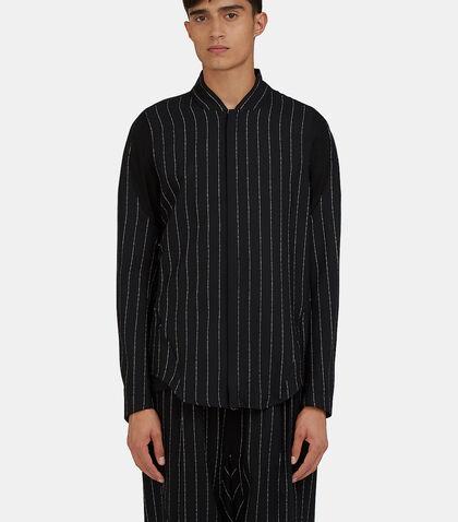 Arc Apres Zip-Up Broken Stripe Shirt