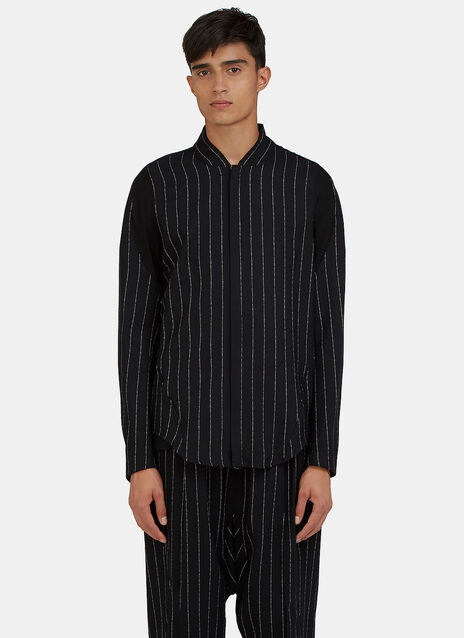 Arc Apres Zip-Up Broken Stripe Shirt