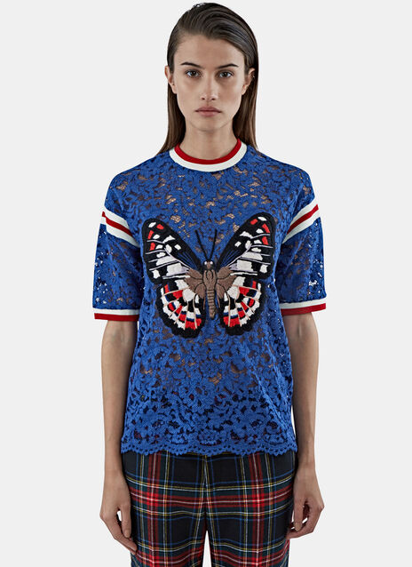 Butterfly Patch Floral Lace T-Shirt