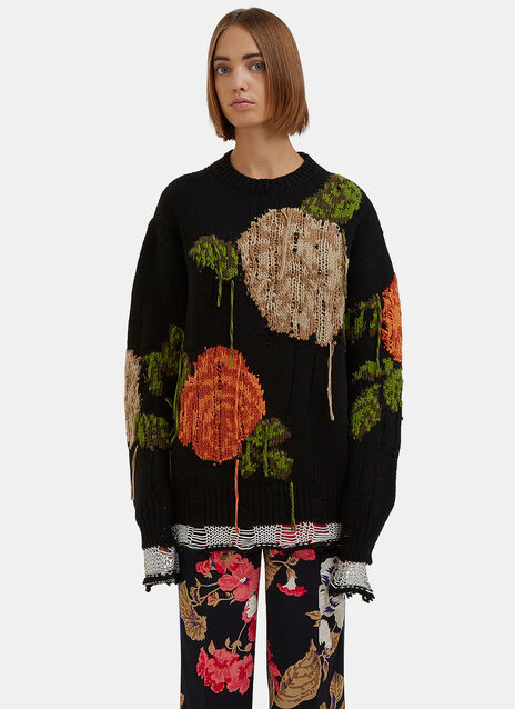 Oversized Destroyed Floral Knit Sweater